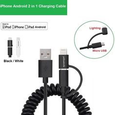 2 in1 Lightning 8pin + Micro USB Charge Sync Data Cable For iPhone Samsung 1.5M #UnbrandedGeneric