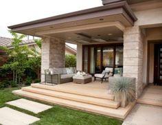 Contemporary with covered patio piece outdoor sofa sets porche moderne, mod Outdoor Sofa Sets, Outdoor Ottomans, Outdoor Living, Modern House Plans, Modern House Design, Patio Design, Exterior Design, Porch Railing Designs, Porch Railings