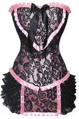 Burlesque Pink Corset with Overlay   Atomic Crush www.atomiccrush.com