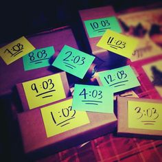 Gifts for each hour of the day. This is a cute idea for anniversaries, birthdays, valentine's day, etc. Pinner did this for  3rd wedding anniversary... So 3 min. Past each hour I have him a little gift. The gifts don't have to be anything really expensive... Just little things. I also attached a little note to each gift with a hint as to what the gift was.