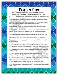 Printable Customizable Baby Shower Activity: Pass the Prize - Instant Download Blue Green Ombre