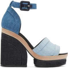 Pierre Hardy Blue Denim Charlotte Sun Sandals ($835) ❤ liked on Polyvore featuring shoes, sandals, heels, trico denim, denim sandals, ankle wrap sandals, blue heel sandals, ankle strap sandals and denim shoes