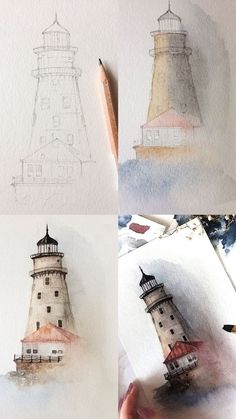Watercolor tips for absolute beginners with example - # beginners . - heart - Watercolor tips for absolute beginners with an example # Beginner - Watercolor Tips, Watercolour Tutorials, Watercolor Water, Watercolor Drawing, Watercolor Art Landscape, Watercolor Beginner, Watercolour Paintings, Beginner Painting, Watercolor Artists