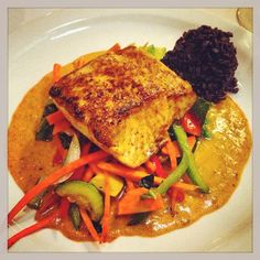 Seared Mahi Mahi over Black Rice and Curry Sauce | Tsunami Memphis #MEM