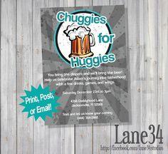 Chuggies For Huggies Dad Baby Shower Invitation Printable DIY