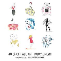 """SURPRISE FLASH SALE! Get 40% off of your entire purchase TODAY only by entering """"SOULPAPERSUMMER"""" at checkout.  I have uploaded 25 new fashion illustrations to my #etsyshop so I can't wait to see yalls response! Let me know how you like the new collection :). #happythursday and #happyshopping   Www.etsy.com/shop/soulpaperart"""