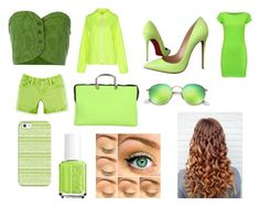 """""""Day and Night 15-Green"""" by marianaraposo on Polyvore featuring Romeo Gigli, WearAll, Tanomu Ask Me, Christian Louboutin, Leghilà, Ray-Ban, Casetify and Essie"""