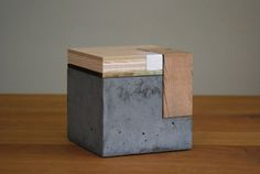 Phillip Finder - 2016 - Sculpture series for UC Berkeley College of Environmental Design. Concrete, Ceramic, Brass, Oak and Plywood. 6x6x6″