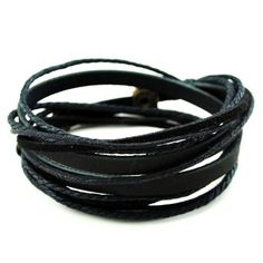 Black Leather Wristband cuff bracelet, friendship gift, black ropes bracelet, women wrap bracelet, men wrap bracelet SL2337 Original Tribe http://www.amazon.com/dp/B00DWOZ2X6/ref=cm_sw_r_pi_dp_EUB.ub02PTDHR