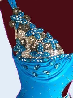 Blue Dance Dress with feathers Latin Dance by DesignByNatasha