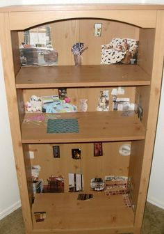 Made bookcase into dollhouse.  Just cut out pics of appliances, etc., from Better Homes and Gardens magazines and glued them in there.