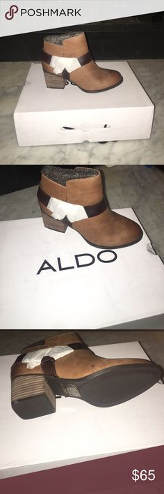 🌻Aldo Arielle Boots NWT and in box🌻 Beautiful Leather ankle booties.                          Material : Leather Sole: Rubber  Stay a step ahead with these fresh zipped boots featuring side straps. - Textile lining. - Zip boot. - Block heel. - Round toe. - Metal ornament. - Heel Height: 2.25 in. - Shaft Height: 3.25 in. Aldo Shoes Ankle Boots & Booties