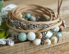 """Set of 3 Bohemian """"Tender Morning"""" Stack Wrap Bracelets, Boho Chic Rustic Gypsy Beachy Crystal Indie Stretch Leather Bracelets Womens Gift"""