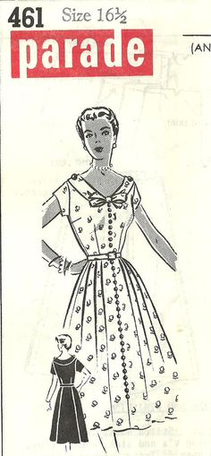 Vintage 50s Mail Order Sewing Pattern Patt o Rama 461 Dress Bust 35