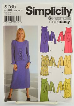 Simplicity Pattern 5765 Misses' Petite Pullover Dress in Three Lengths and Jacket Size 8 10 12 14 UNCUT