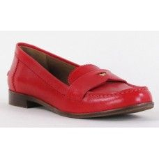 Tory Burch Red Leather Penny Loafers