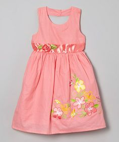 Coral Hibiscus Keyhole Dress - Toddler & Girls