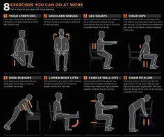 """""""Exercising at your desk is a great way to stay active because staying fit should be a priority, whether you are working 40 hours/week or not. Question is, are you brave enough to carefully try at least 5 of these moves at your work station? Exercise At Your Desk, Office Exercise, Office Workouts, Desk Workout, Workout At Work, Workout Routines, Wellness Programs, Workout For Beginners, Going To The Gym"""