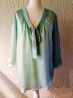 Princess Bluse Shirt Pastell Mint 100 % Seide Damen Gr: 38