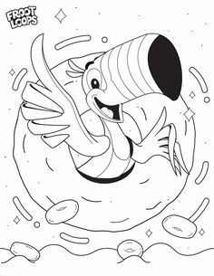 Follow your nose with Toucan Sam to create a deliciously fruity world of color Coloring Pages For Kids, Coloring Sheets, Coloring Books, Vbs Crafts, Diy And Crafts, Oh Yeah Baby, Cool Pencil Drawings, Froot Loops, World Of Color
