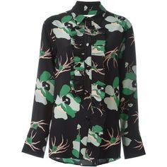 Marni 'Camau' shirt ($1,240) ❤ liked on Polyvore featuring tops, black, ruffle collar shirt, floral long sleeve shirt, floral shirt, silk shirt and ruffle shirt
