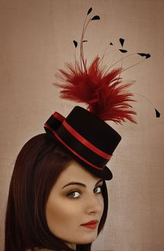 Black & Red Mini Top Hat With Feathers