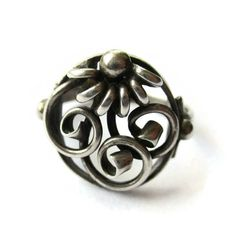 Scandinavian 830 silver flower ring, openwork, probably Danish, floral design with scrolls, Nordic jewelry, vintage Denmark round ring. https://www.etsy.com/uk/inglenookery/listing/513401630/scandinavian-830-silver-flower-ring