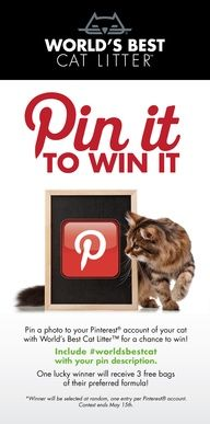 One lucky person will win 3 bags of @World's Best Cat Litter ! Click here for more details.