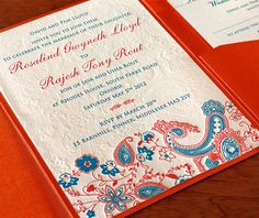 indian letterpress wedding invitation