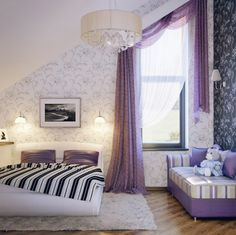Black Accent Wall And Striped Bedcovers With Purple Pillows Plus Purple Sofa Couch With Cushions