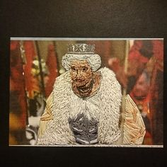 Inge Jacobsen's embroidered Queen as a little printed postcards!   #postcards #art #thequeen #queen #embroidery #print