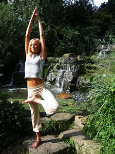 Beautiful Spring Tall Tree Pose by the Waterfall. Mother Nature, Harem Pants, Waterfall, Ballet Skirt, Poses, Calm, Beautiful, Spring, Fashion