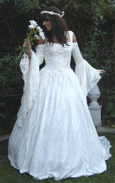 Gwendolyn Medieval or Renaissance Wedding Gown Velvet and Lace Custom shown with Hoop. $465.00, via Etsy.