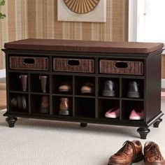 Black Entryway Storage Bench