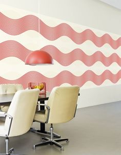 Noise Red Horizontal Striped Wallpaper for Small Spaces- R1653 by Walls Republic