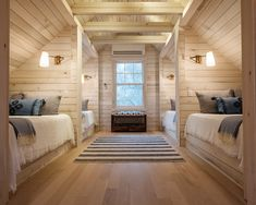 Introducing our NEW Hampton White Shiplap! These beautiful planks surround the bunkhouse bedroom in this incredible East Hampton home. The room glows! Plank Wall Bedroom, Accent Wall Bedroom, Accent Walls, Cabin Design, House Design, Bunk Rooms, Bedrooms, White Shiplap, Weekend House