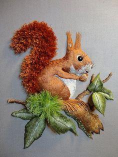 Raised work squirrel. Hand embroidery by Miriam Blaylock.