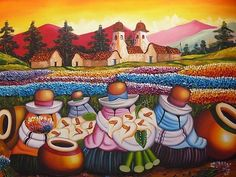 Los campsesinos - Peruvian Art, I love the colors perfect for the cusquenan room Latin Decor, Muse Kunst, Mexican Paintings, Lily Painting, Painting Art, Peruvian Art, Latino Art, Modern Art, Contemporary Art