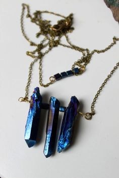 ※ Blue quartz necklace with pearls on antique chain. There are two different lengths on one necklace, a chain around the neck with pearls and a