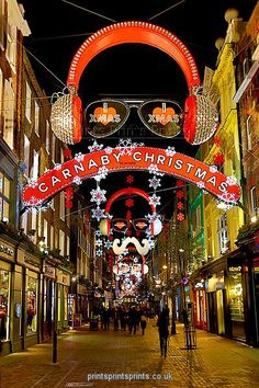 Christmas decorations in Carnaby Street, London