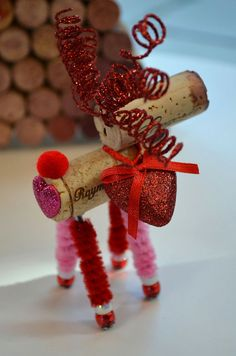 Wine Cork Reindeer Ornaments by TheCorkForest on Etsy