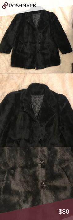 VINTAGE: Black Fur Coat Peacoat, great condition. Can fit an small-medium. Vintage Jackets & Coats Pea Coats