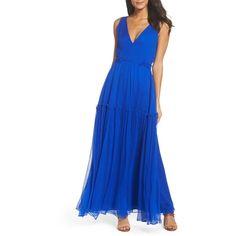 Women's Bb Dakota Yasmeen Tiered Georgette Maxi Dress (€220) ❤ liked on Polyvore featuring dresses, bright ultramarine, bright colored maxi dress, blue maxi dress, flounce maxi dress, flounce dress and bb dakota dresses