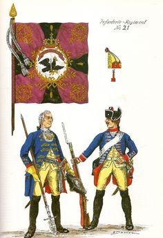 Prussia; Infantry Regiment Nr.21, c.1750 by G.Donn
