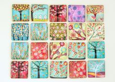 This gorgeous collection of square glass magnets features flowers, trees and nature themes. Perfect to add a burst of life and intrigue to those boring bulletin boards, locker doors or refrigerator doors. The glass cabochon is glued onto a super strong and superior rare earth magnets which can hold 10x stronger than their ceramic counterparts. They're also plated with nickel alloy for maximum durability and protection against corrosion. All magnets come in beautiful kraft paper gift box…