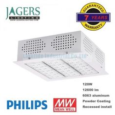 120W Recessed LED Canopy Luminaire, Phiips and Meanwell, White finish, 7 years warranty