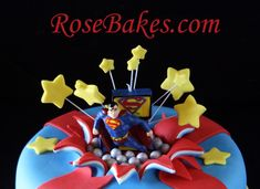 Superman Bursting Out of the Cake (Exploding Cake Tutorial): Part 1 Cake Decorating Techniques, Cake Decorating Tutorials, Cookie Decorating, Decorating Ideas, Fondant Cakes, Cupcake Cakes, Cupcakes, Exploding Cake, Cake Decorating Magazine