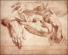 Andrea d'Agnolo di Francesco, Study of Hands, Red Chalk drawing