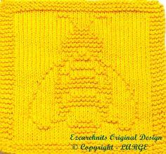 Knitting Cloth Pattern BEE PDF by ezcareknits on Etsy Knitted Dishcloth Patterns Free, Knitting Squares, Knitted Washcloths, Crochet Dishcloths, Knitting Charts, Knit Or Crochet, Knitting Stitches, Baby Knitting, Crochet Patterns