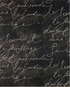 "Waverly fabric - French script ""Pen Pal Blackbird"""
